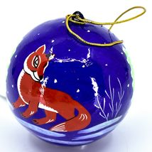 Asha Handicrafts Hand Painted Papier-Mâché Red Fox Holiday Christmas Ornament  image 3