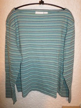LIZ CLAIBORNE LIZ SPORT COTTON BOAT NECK TEE TOP SIZE XL - $9.50
