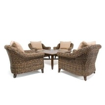 Stationary Lounge Chairs Chat Table Vintage Beige Cushions Patio Home Fu... - $4,201.99