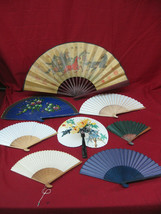 Large Collection of 8 Assorted Antique Vintage Chinese Decorative Fans #4 - $59.39