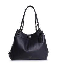 COACH Turnlock Edie Leather Shoulder Bag - Navy - $278.00