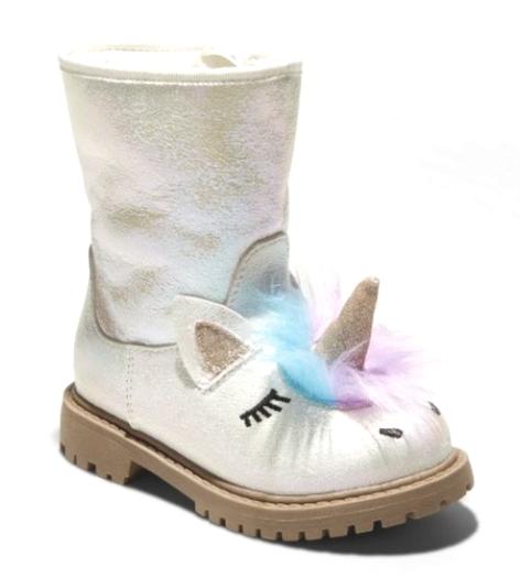 Cat & Jack Toddler Girls Hillary Natural White Glitter Unicorn Fashion Boots NEW