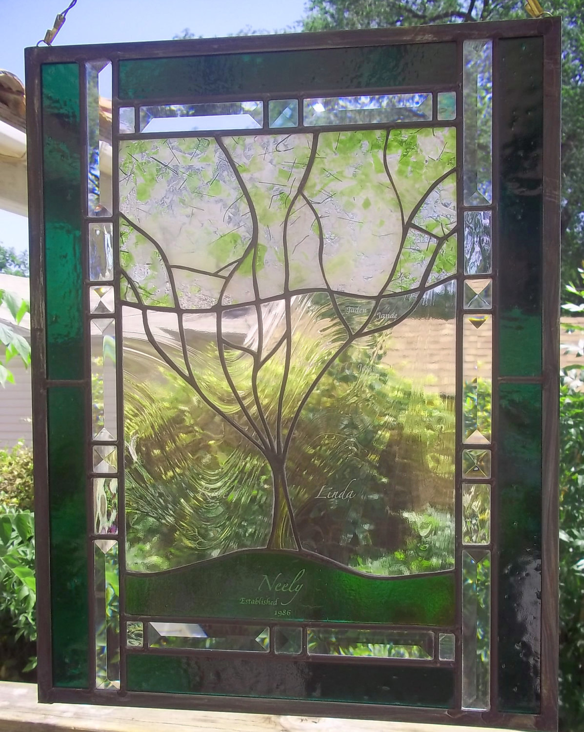 Custom Family Tree Stained Glass Window Panel personalized with your family