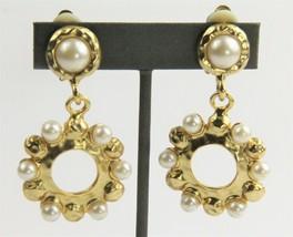 80s ESTATE VINTAGE Jewelry DESIGNER STATEMENT RUNWAY FX PEARL DANGLE EAR... - $85.00
