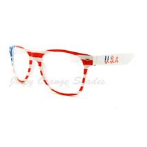 USA Flag Clear Lens Glasses Star Spangled Banner Red White Blue - $7.82