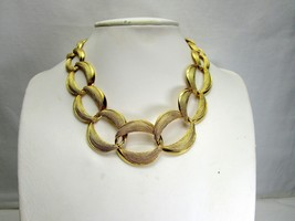 Vintage Napier Chunky Choker Necklace Gold Tone Link Textured Smooth Finish 80's - $27.54