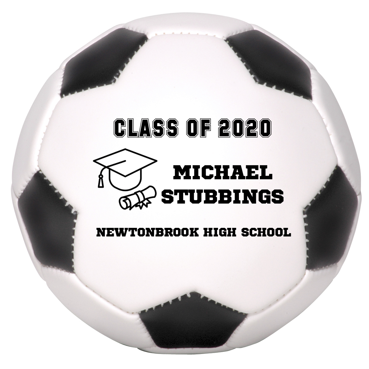 Primary image for Personalized Custom Class of 2020 Graduation Mini Soccer Ball Gift Black Text