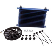 """AN10 15 Row Universal Engine Oil Cooler + 7"""" Electric Cooling Fan Kit Blue - $68.20"""