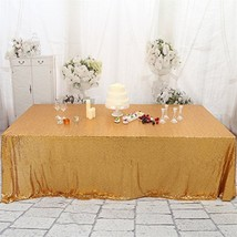 Eternal Beauty 50'' x 80'' Light Gold Rectangular Sequin Tablecloth Shin... - $27.35