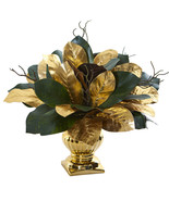 "18"" Magnolia Leaf Artificial Arrangement in Gold Planter  - $106.38"