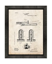 Trombone Patent Print Old Look with Beveled Wood Frame - $24.95+