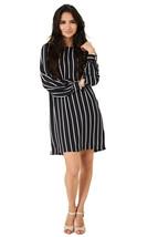P77 - Women's Ladies Black Stripe Balloon Sleeve Chiffon Mini Shift Dres... - $15.21