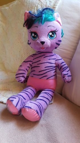 "Primary image for 2016 BUILD A BEAR Teegan Honey Girls Purple Tiger Cat Rock Star 21"" used clean"