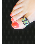 Black and green glass lentil big toe ring watermarked thumbtall