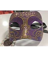Venetian Eye Mask - Purple / Gold (proper Quality Mask) - $27.25
