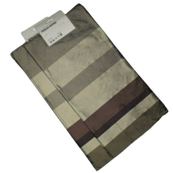 "Primary image for NEW Ikea Fenja Rand Sham Brown Striped Silk 20"" x 20"" Pair Pillow Covers"