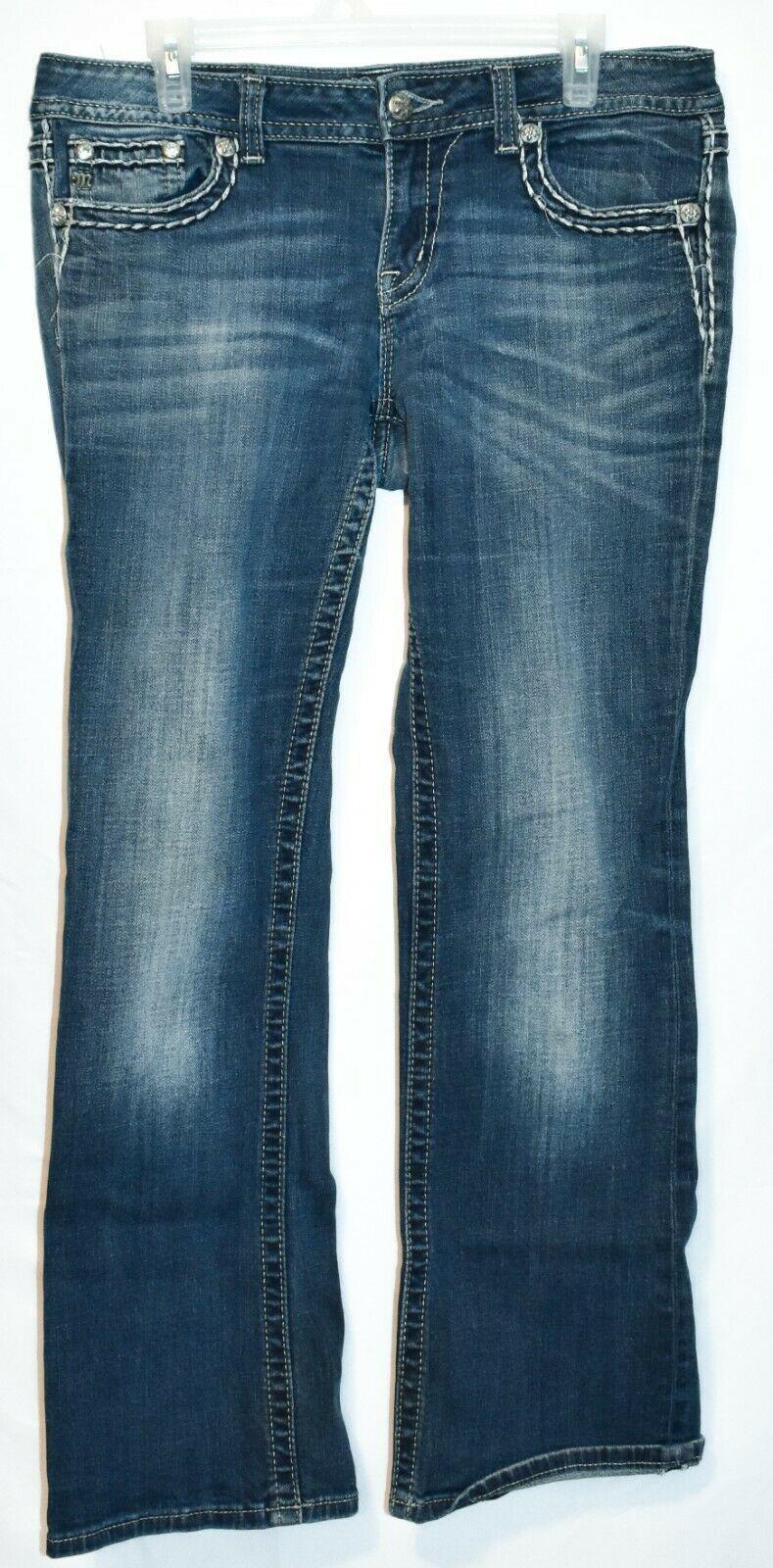 Miss Me Women's Fleur de Lis Mid-Rise Easy Boot Cut Blue Denim Jeans Size 30
