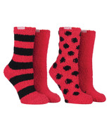 Coca Cola - 2 Pack Womens Polka Dot Striped Red Soft Warm Cozy Fluffy Bed Socks - $12.99