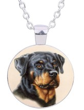 "Rottweiler Dog 20"" Silver Tone Chain Glass Cabochon Pendant Necklace In ... - $9.89"