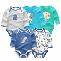 5 PCS/lot newborn baby bodysuit winter long sleeve cotton baby jumpsuit ... - $37.67+
