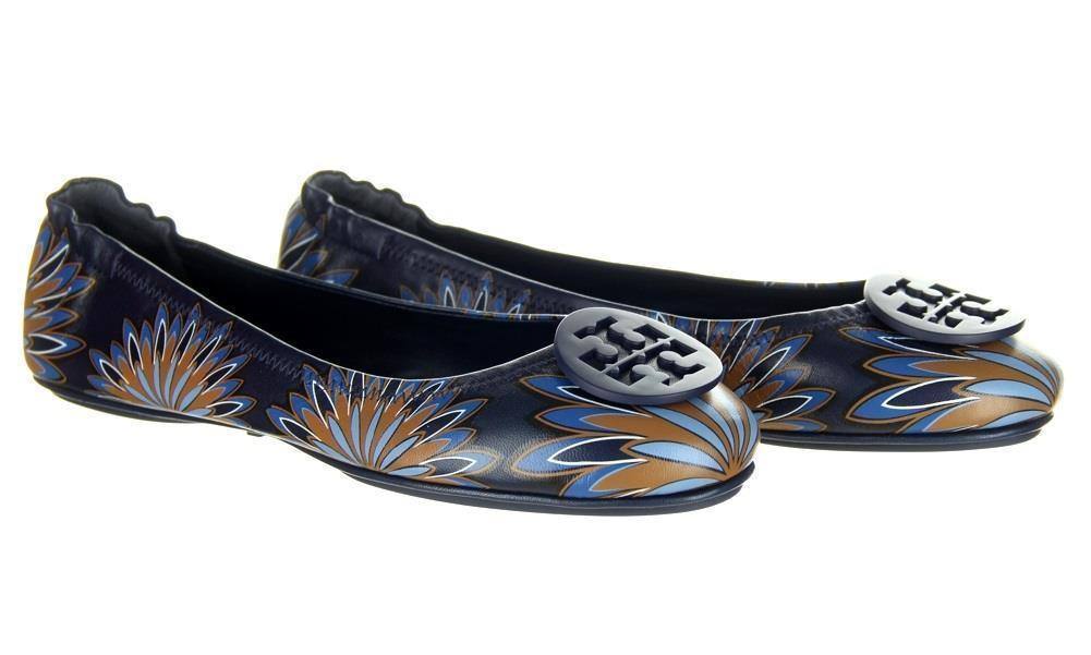 Tory Burch Minnie Travel Ballet Flat Shoe Navy Floral 10.5 New - $128.69