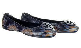 Tory Burch Minnie Travel Ballet Flat Shoe Navy Floral 10.5 New - $128.69