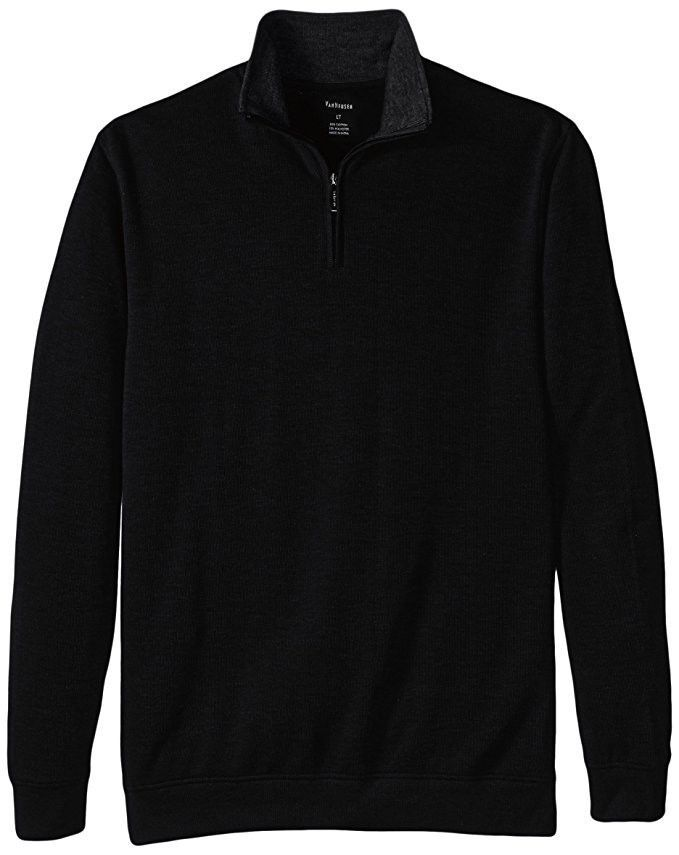 Van Heusen Men's 1/4 Zip Sweater French Ribbed Pullover Black