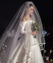 Cathedral Length Wedding Bridal Veil Full Edge Tulle White Veils Wedding Photo  image 1