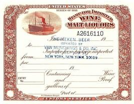 Series of 1935 Stamp for Imported Wine Malt Liquors Heineken Beer Custom... - $19.00