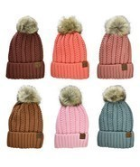 C.C Beanie Pastel Thick Cable Knit Faux Fuzzy Fur Pom Fleece Lined Cuffe... - $16.99