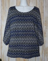 Womens Blue Zig Zag Cato 3/4 Sleeve Shirt Size Large excellent - $6.92