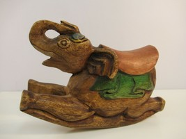 Carved Wood Elephant Figure Sculpture Rocking Circus Figurine w/ Saddle - $24.00