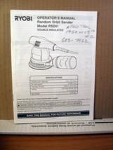Operator's Manual Ryobi Random Orbit Sander Model RS241 - $5.39