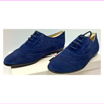 Isaac Mizrahi 'Fiona' Dark Blue Suede Pinhole Lace Up Wingtip Oxford Flats 5M - $38.00 CAD