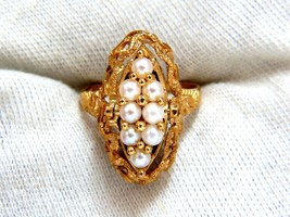 5.00ct Natural Amethyst Seed Pearl Gypsy 14kt Ring - $382.50