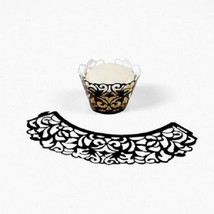 Lot of 24 Laser Cut Black Feligree Cupcake Collars Wedding Bridal Shower - $9.22