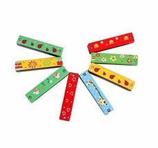 (Random Color)2Pcs Wood Harmonica/Children Toy 16 Holes Double Row