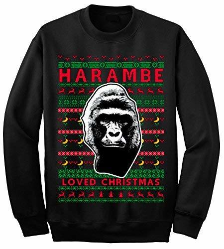 Primary image for 12.99 Prime Tees Adult Harambe Loved Christmas Crewneck Ugly Christmas Sweater 2