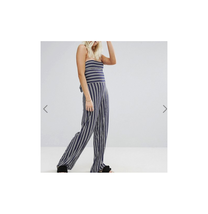Boohoo Women's Petite Abi Stripe Wide Leg Strapless Jumpsuit Size US 6P NWT - $22.76