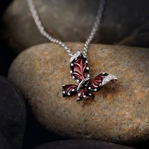 Women Red Butterfly Slide Necklaces Pendant 925 Sterling Silver Fashion Jewelry image 5