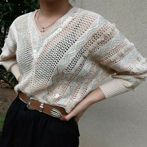 Vintage 1970s Milton Ford for Patricèle Ltd. Sequined Candy Pastel Knit ... - $42.00