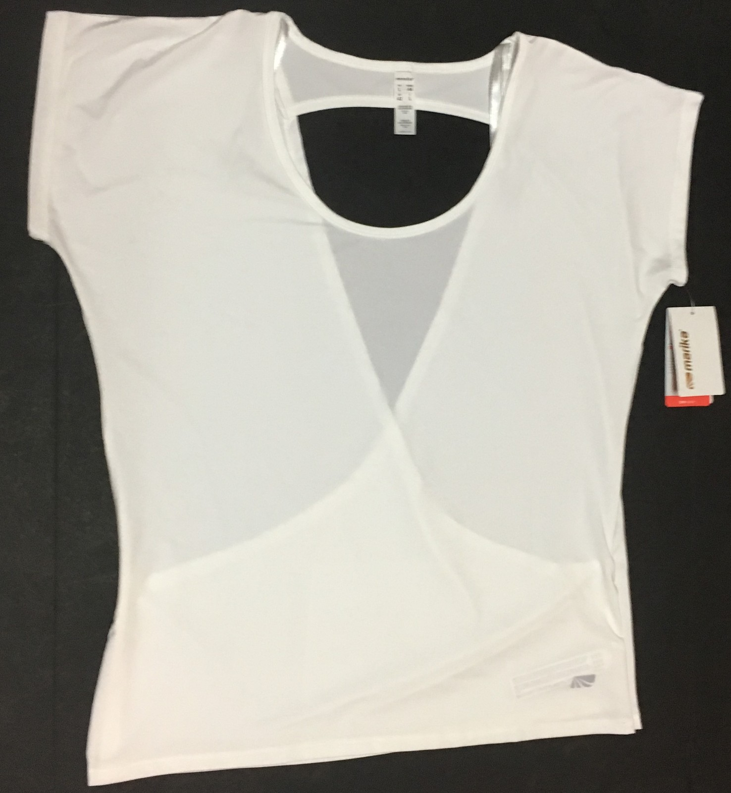 Marika Performance Dry Wik Top Blouse White Open Cross Over Back Sz L NWT
