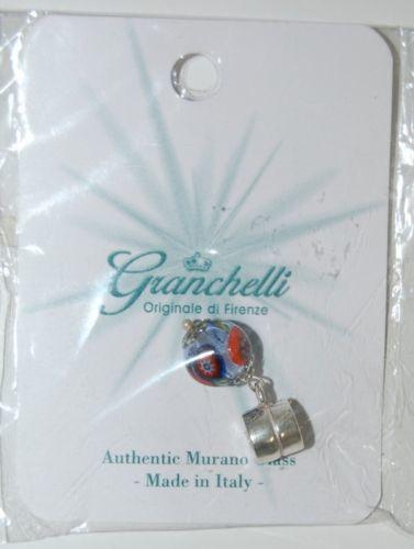 Granchelli Authentic Murano Glass Blue Multi Color Slider Charm