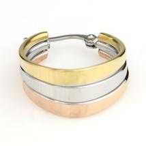 Polished Oval Tri-Color Silver, Gold & Rose Tone Hoop Earrings- United Elegance image 3