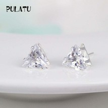 Fashion Triangle Earring For Women mm Simulated Zircon Small Stud Earrin... - $20.00