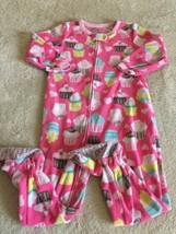 Carters Girls Pink Blue Yellow Cupcakes Cherries Fleece Long Sleeve Paja... - $5.71