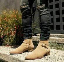 Handmade Men's Beige Suede Jodhpurs Ankle High Monk Strap Boots image 3