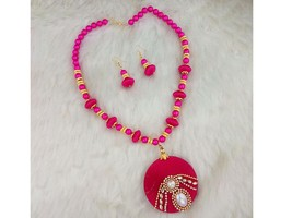 Indian Designer Jewelry Pink Austrian Stone Gold Plated Thread Necklace ... - $11.00
