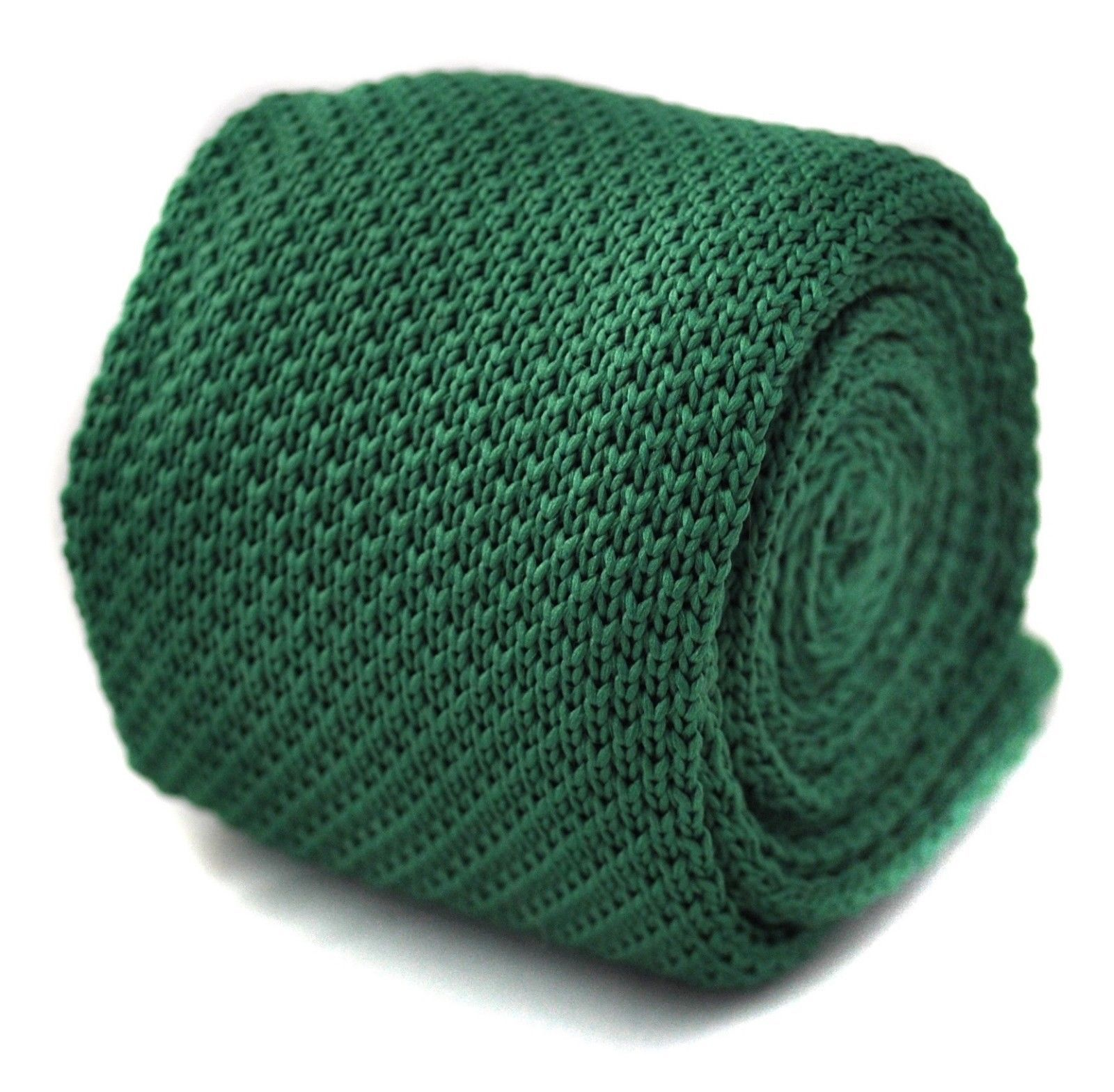 Knitted Plain Green Mens Tie by Frederick Thomas FT266