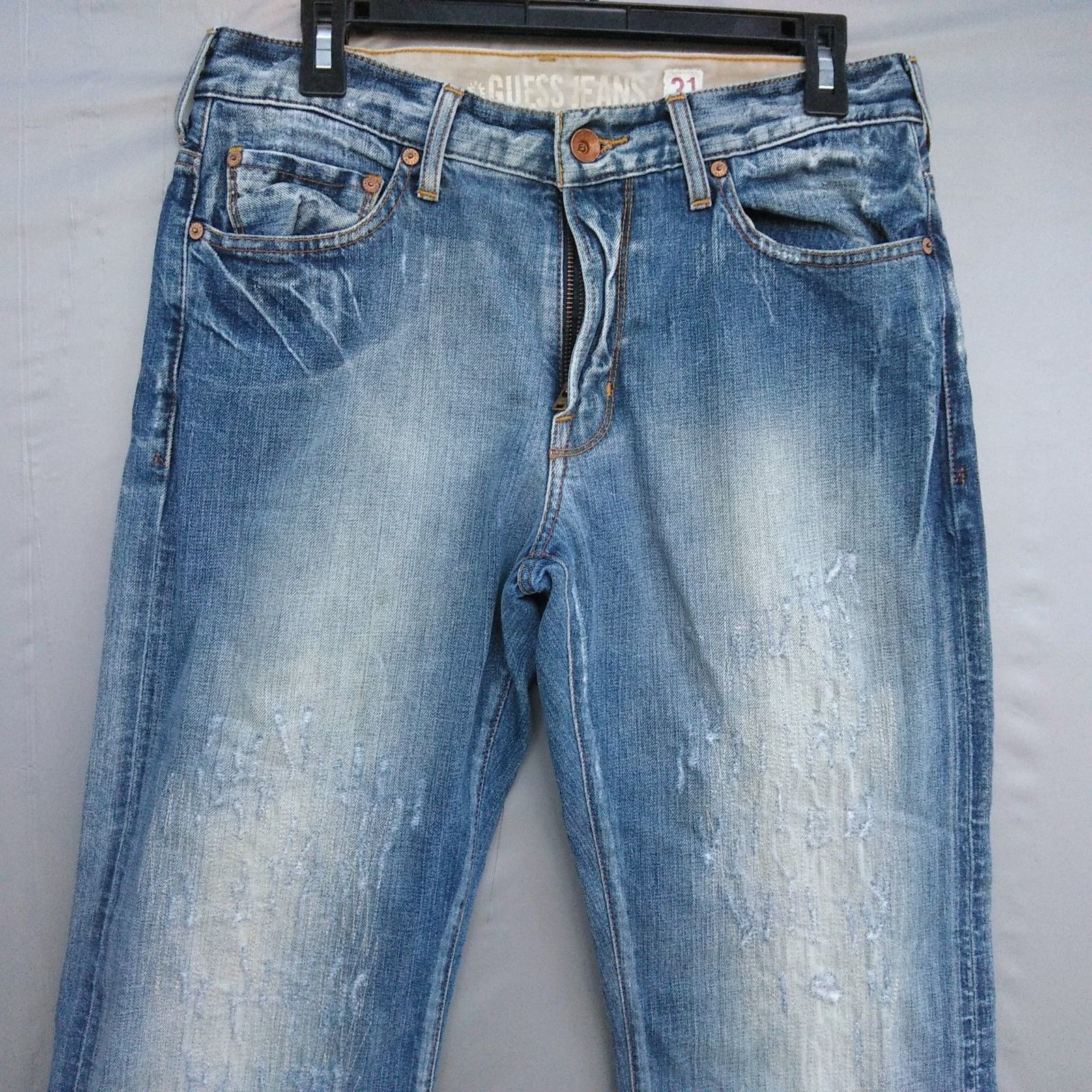 Guess Slim Straight Leg Jeans Men/'s Size 34 X 30 Low Rise Dark Distressed Wash